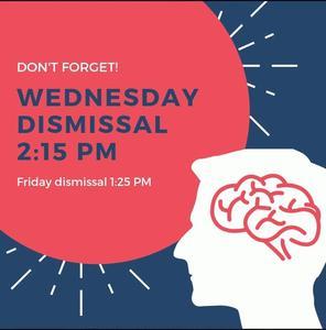 Wednesday Dismissal - 2:15pm
