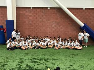 colin powell students at Giants Training Camp