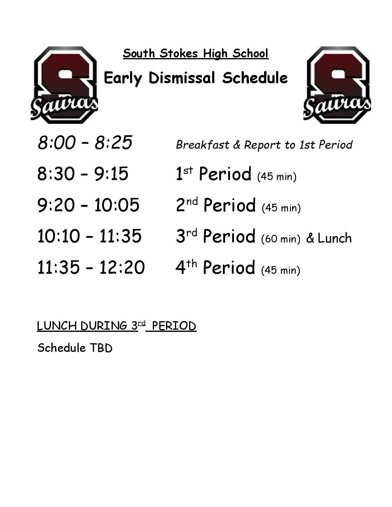 2020-2021 Early Dismissal Bell Schedule