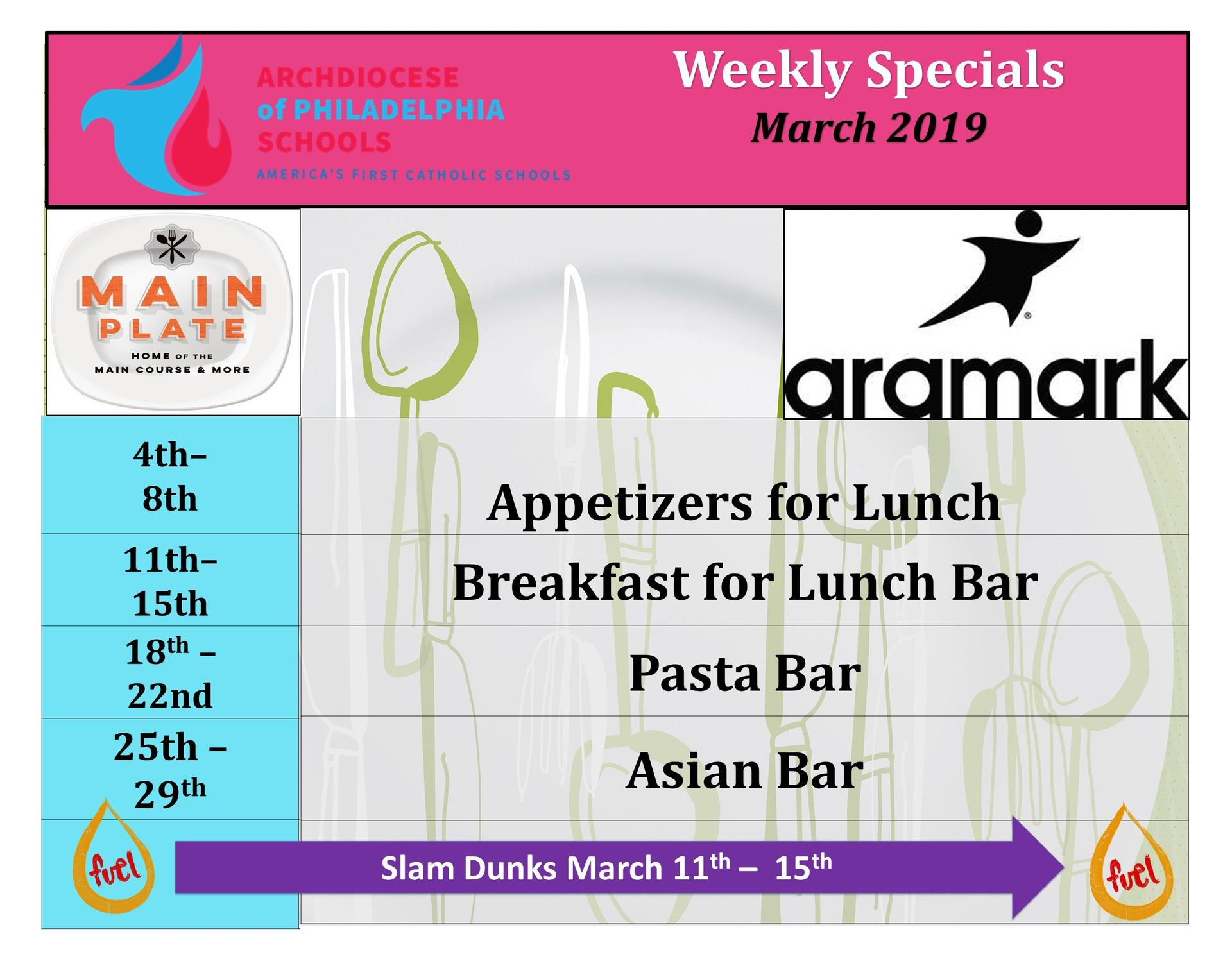 Caf Menu for March 2019
