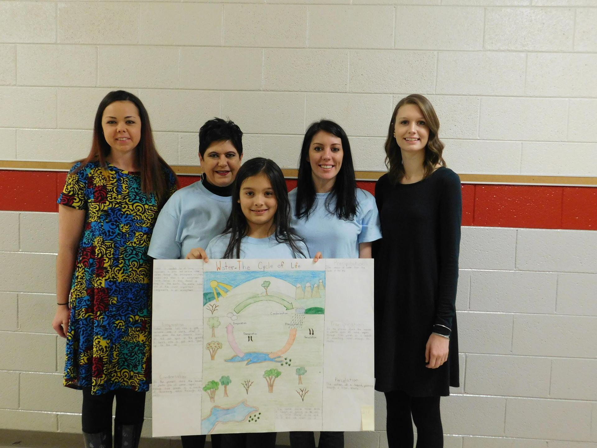 4 teachers and a student with soil and water poster