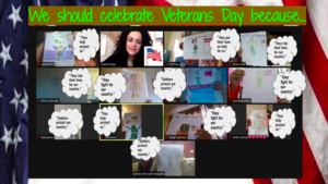 Zoom class on Veteran's day with quotes from students