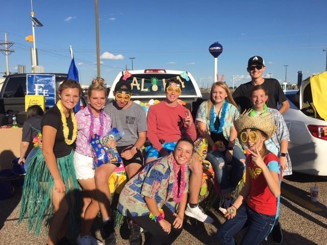 Tennis trunk at annual NHS Trunk or Treat.