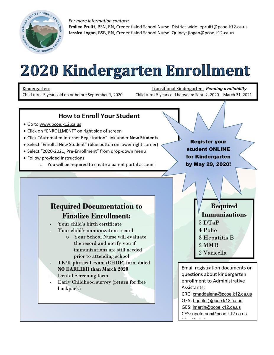 Kindergarten Enrollment Instructions