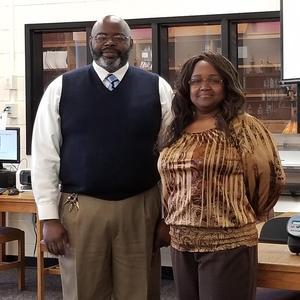 Principal Trevor Roberson and Attendance Secretary Betty Mathis