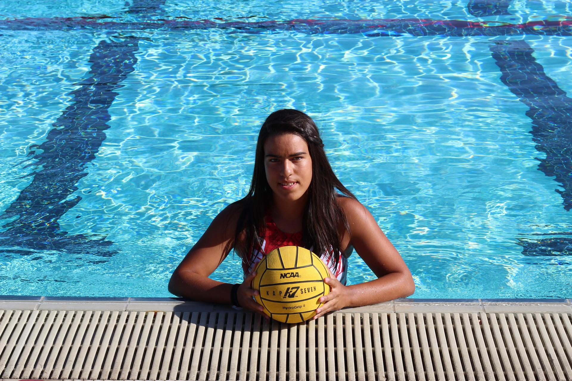 Girls water polo senior posing