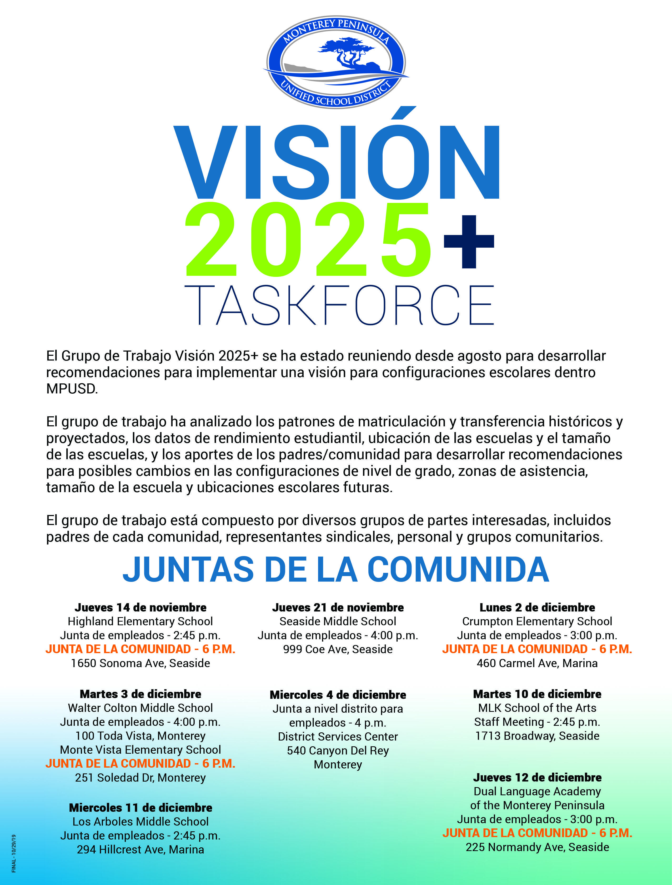 Vision 2025+ Flyer Listing Community Town Hall Meetings