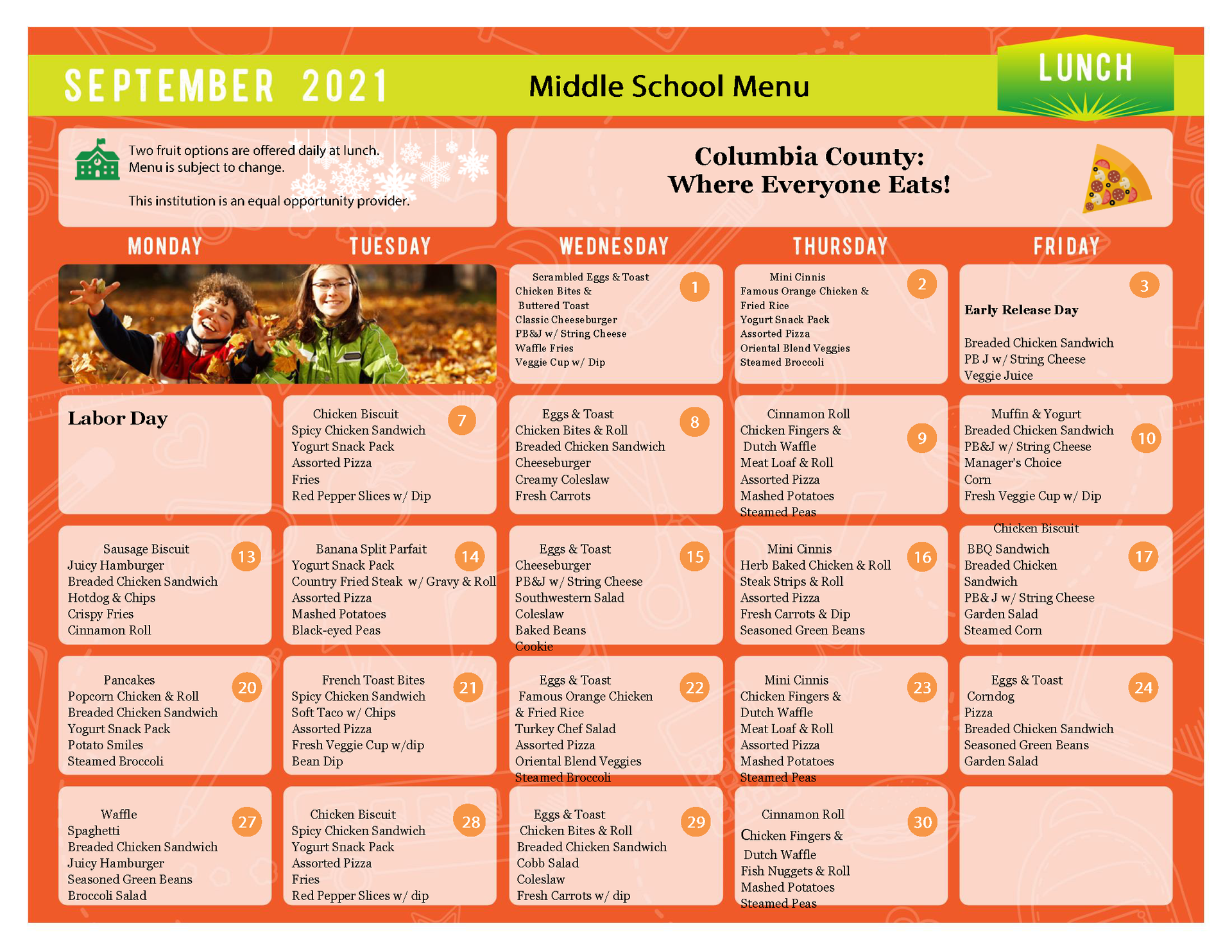 Middle breakfast and lunch menu