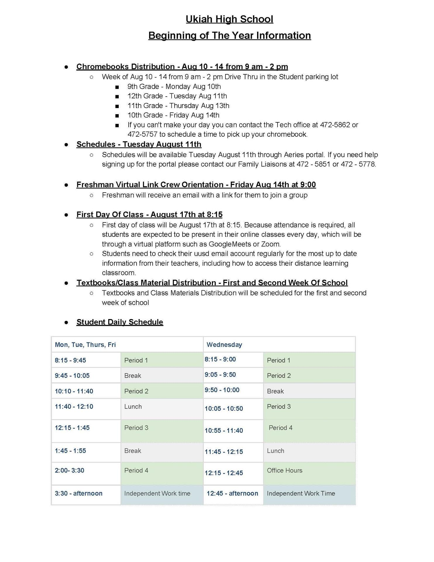 Beginning of the year Information 20-21