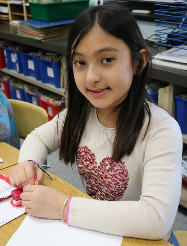 Photo of Franklin student enjoying Valentine's Day activities.