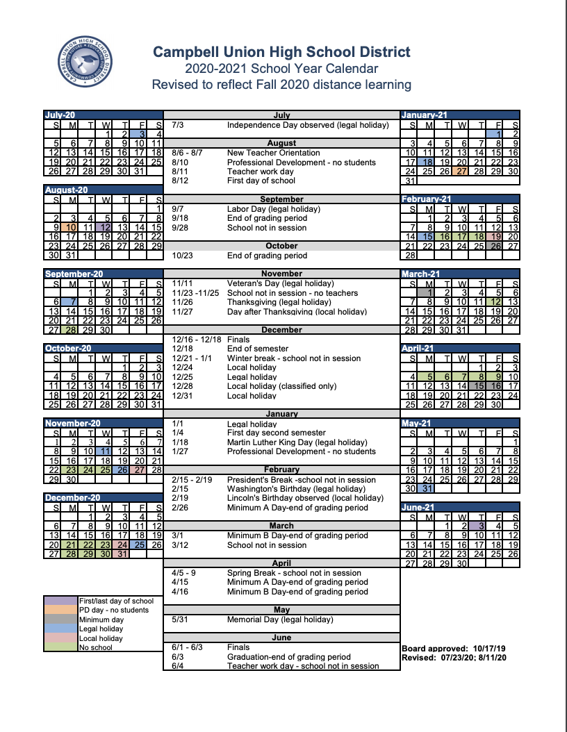 Revised academic calendar