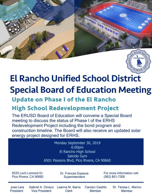 ERUSD Special Board Meeting Flyer