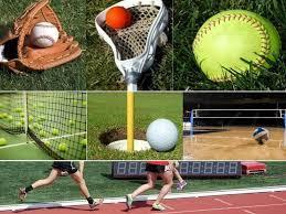 Baseball glove, lacrosse stick, softball, tennis balls, track