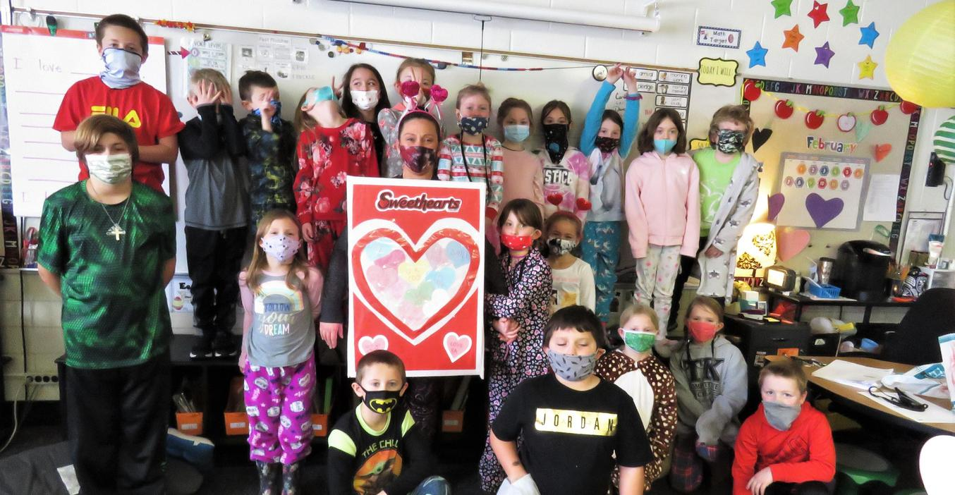 Students enjoy Valentine's Day.