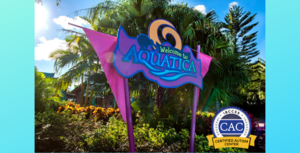 Aquatica water park welcome sign