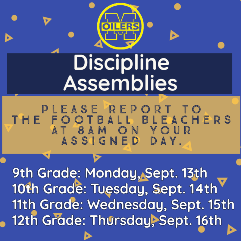discipline assembly schedule