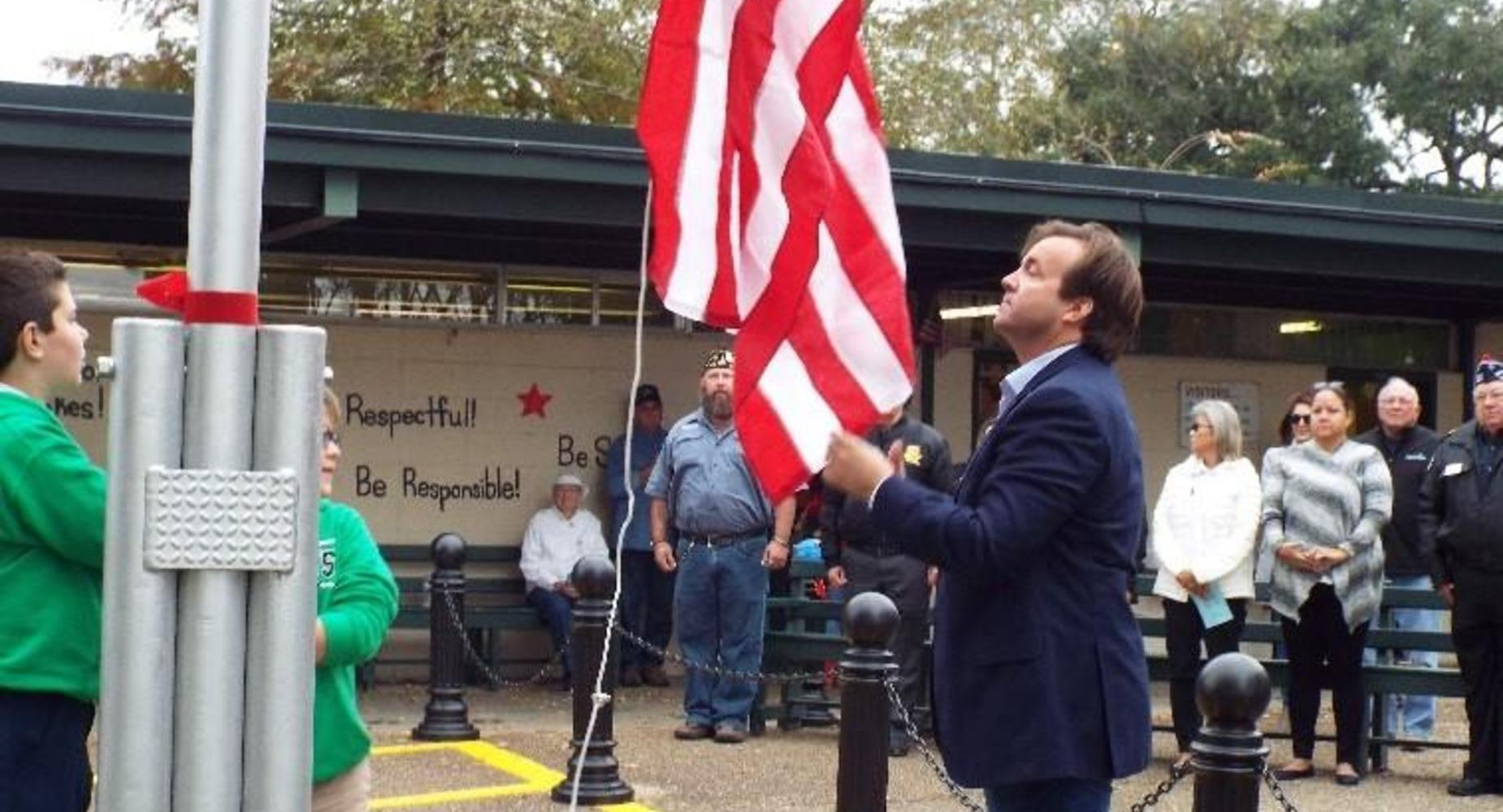 Raising of the new flag