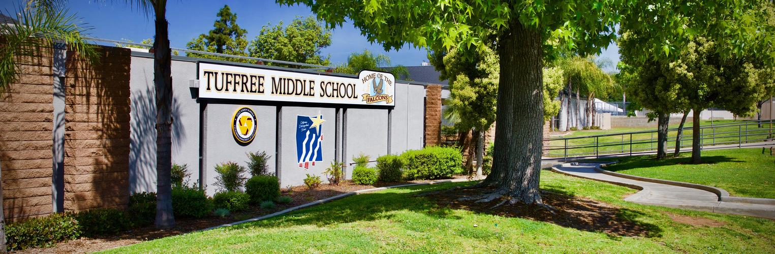 Image of the front of Tuffree Middle School.