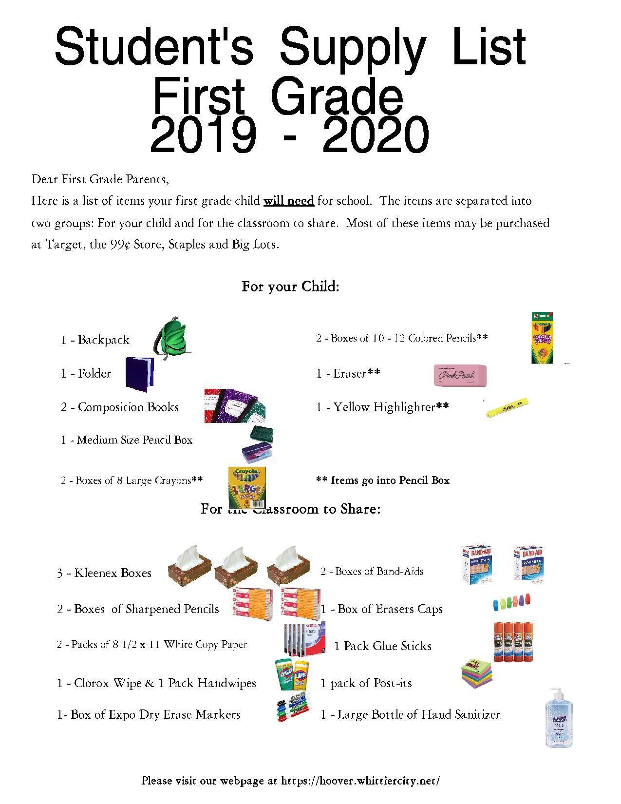 First Grade Supply List 2019-20 - English