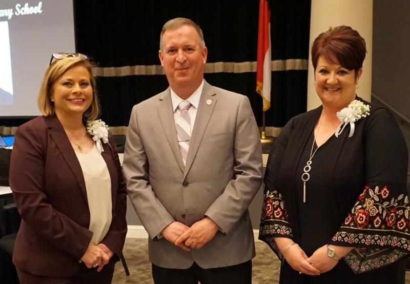 WCS Principal of the Year, Pam Huffman; Superintendent, D. Mark Byrd; and WCS Teacher of the Year, Alicia Stone