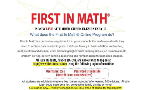 First in Math IS LIVE!!!!