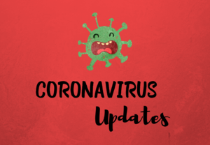 Clipart picture of a germ. Text says Coronavirus Updates.