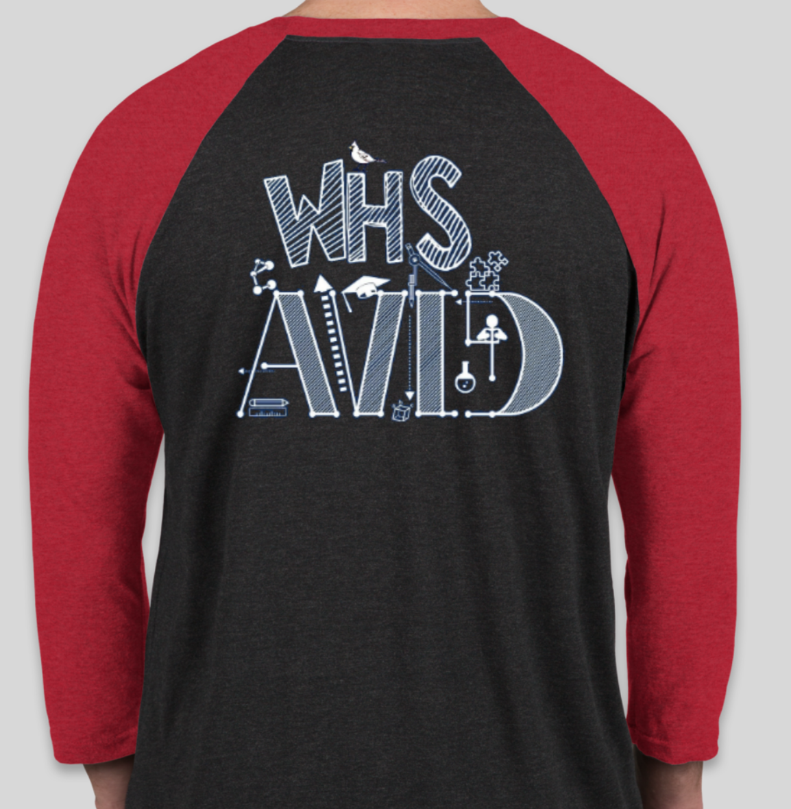Back view of AVID Baseball T-Shirt. Black shirt with red 3/4 sleeves with the word 'WHS AVID' on the front.