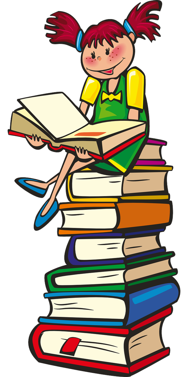 girl on stack of books