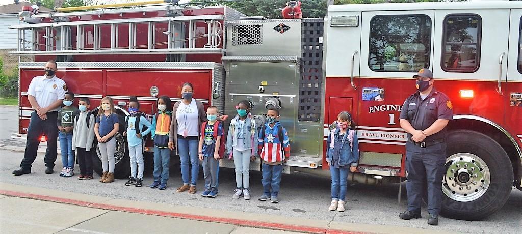1st grader names Prairie State fire truck