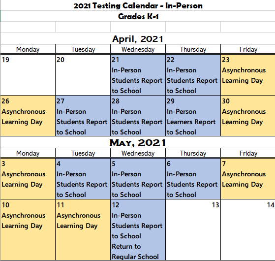 K-1 In-Person Testing Calendar