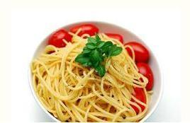 Plate of spaghetti with tomatoes