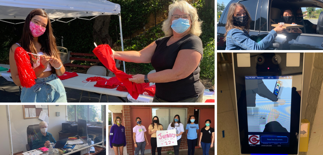 A collage of St. Lucy's students and faculty with face coverings and our safety measures in progress
