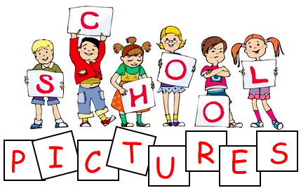 cartoon picture with all students holding the letters school pictures.