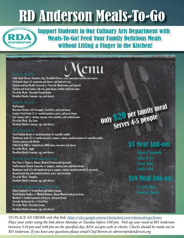 Flyer with meals and prices. This info is also in the text of the article.