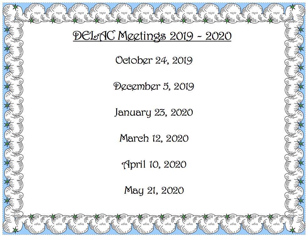 2019-2020 DELAC Meeting Schedule