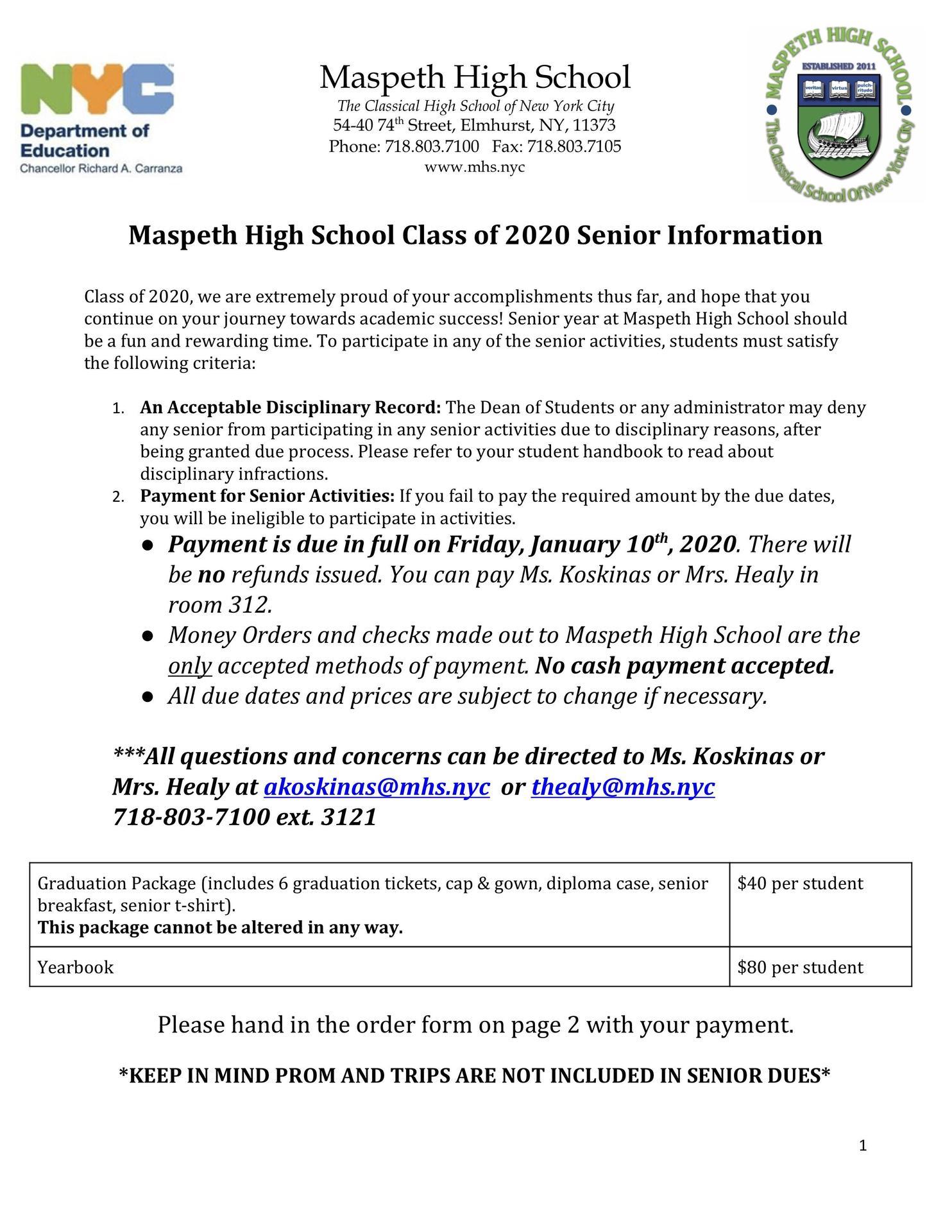 Senior Dues Letter