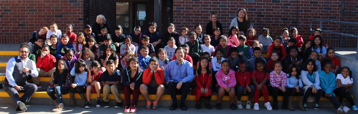 Dr. Pan with Third Grade students at Glenwood