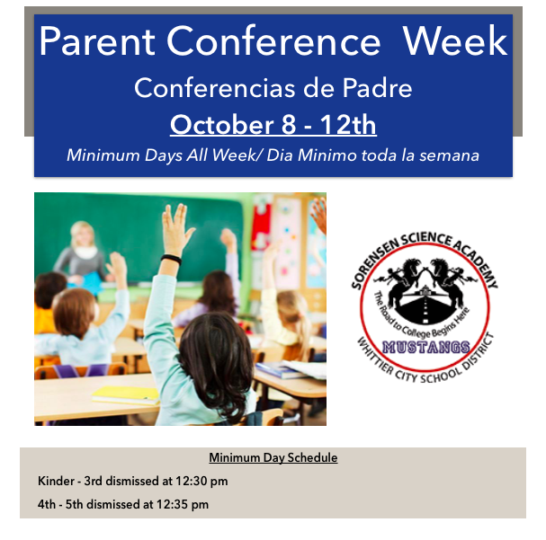 Flier for parent conferences. Picture of students raising their hands in a classroom.
