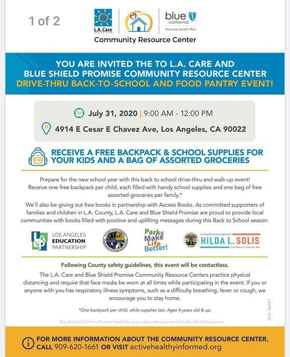 YOU ARE INVITED THE TO L.A. CARE AND BLUE SHIELD PROMISE COMMUNITY RESOURCE CENTER DRIVE-THRU BACK-TO-SCHOOL AND FOOD PANTRY EVENT! Featured Photo