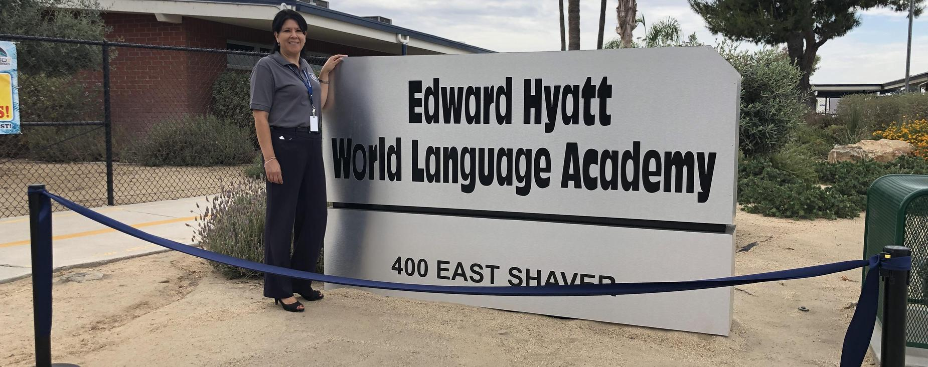 Principal Inelda Luna stands ready to welcome students to the home of the only Preschool-8th Grade Dual Language Immersion program in Riverside County!