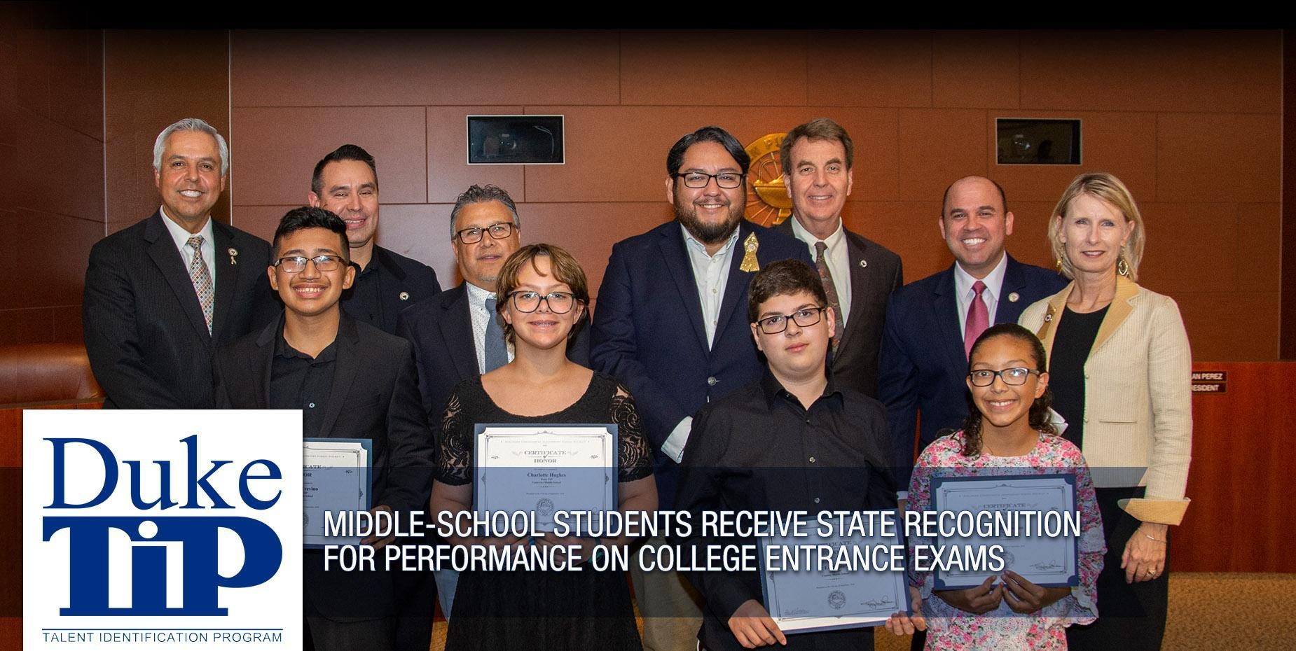 Middle-school students receive state recognition for performance on college entrance exams