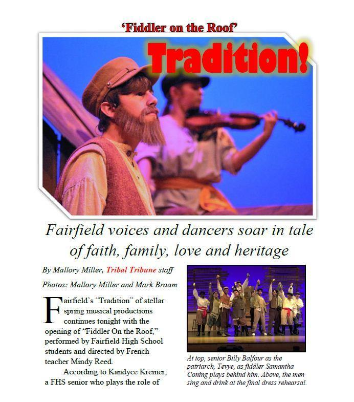 Image of the Fiddler of the Roof article written by a student. The full article is located at the bottom of this page in the file list. If you need additional assistance, please contact us at 513-858-7117.