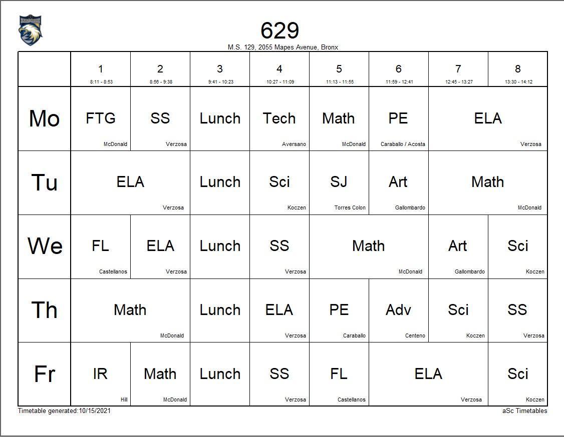 629 class schedule