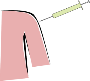 the image is clipart of a person getting a shot. half of the person's torso and arm are visible and they are a peach color. the needle is above their arm and is green.