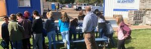 Cañon City Middle CCMS School Students give the Opportunity to Affix their Signatures to the Final Steel Beam