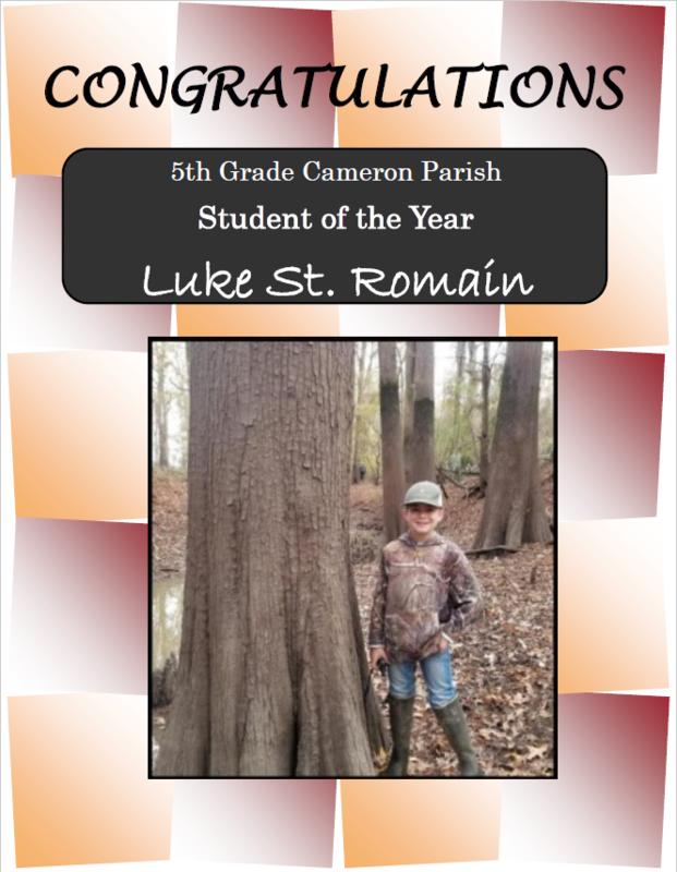 Cameron Parish Elementary Student of the Year Thumbnail Image