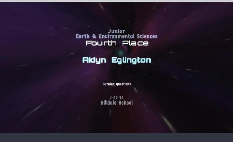 Aidyn placed 4th in the CA Science & Engineering Fair! Thumbnail Image