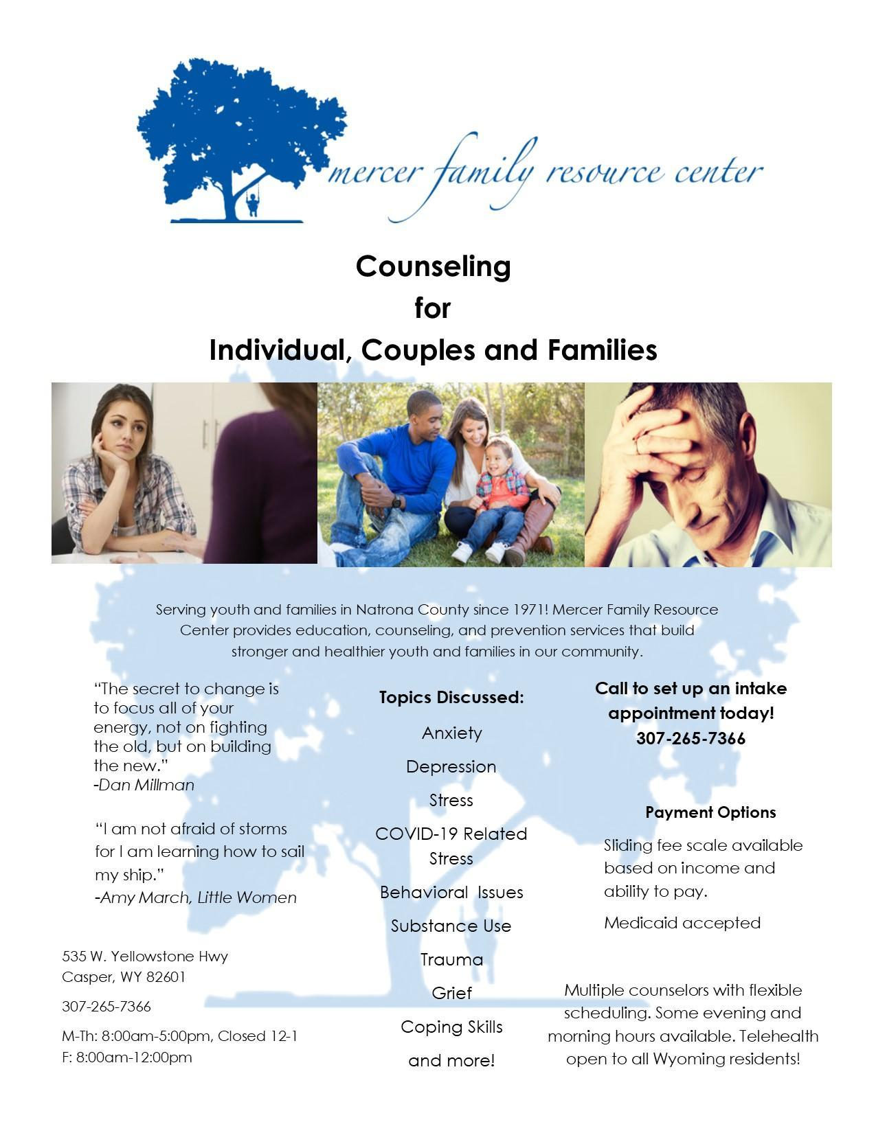 Mercer Family Resource Center Counseling Flyer