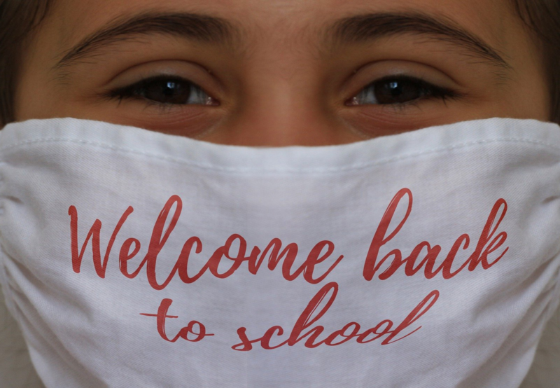 Image of a student wearing a back to school mask.