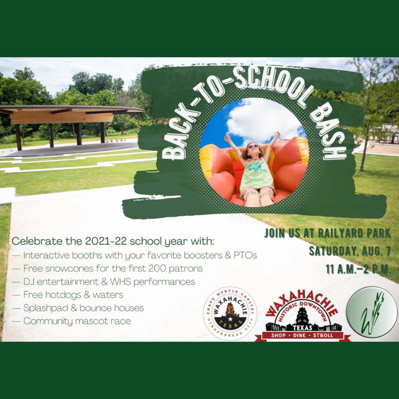 graphic describes the WISD back to school bash at the railyard park on August 7 from 11-2